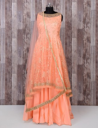 Peach color designer festive anarkali suit