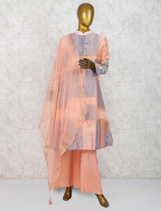 Peach color festive cotton silk punjabi palazzo suit