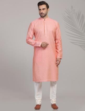 Peach color festive function cotton silk kurta suit