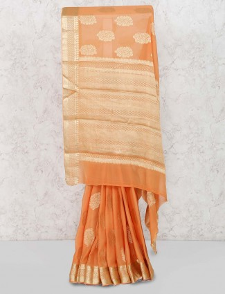 Peach color festive lovely saree
