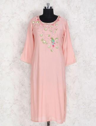 Peach color festive wear cotton kurti