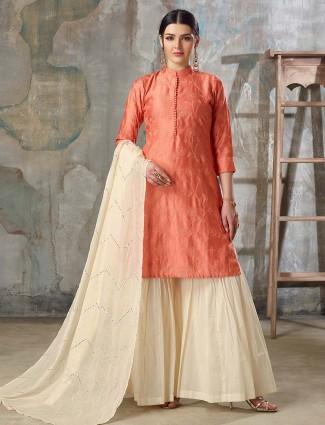 Peach color festive wear pakistani sharara suit