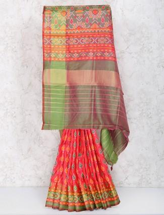 Peach color festive wear saree in cotton silk