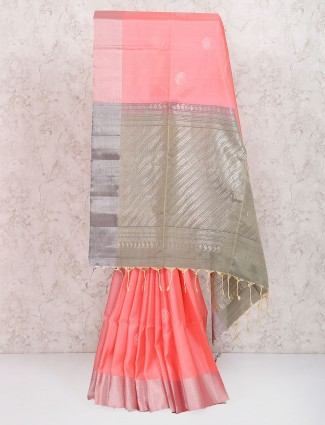 Peach color festive wear saree in pure silk