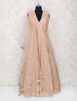 Peach color floor length anarkali salwar suit in cotton silk