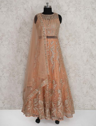 Peach color floor length anarkali suit in net fabric