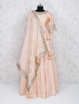 Peach color georgette fabric lehenga choli