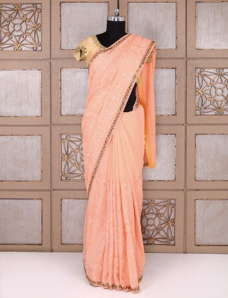 Peach color georgette fabric saree