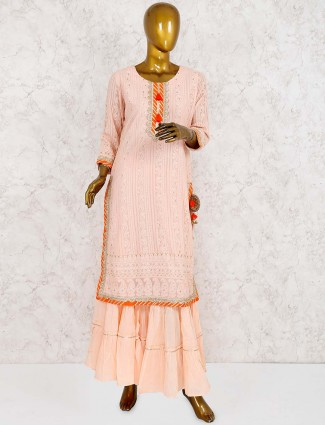 Peach color georgette sharara suit