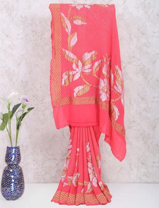 Peach color gharchola saree in georgette fabric