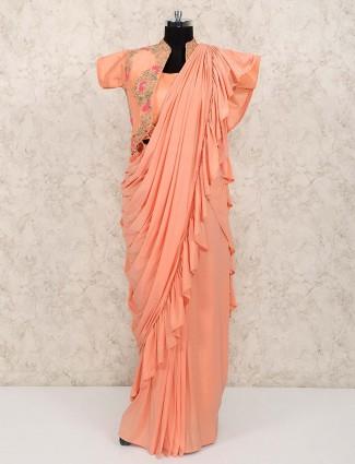 Peach color jacket style lycra lehenga choli