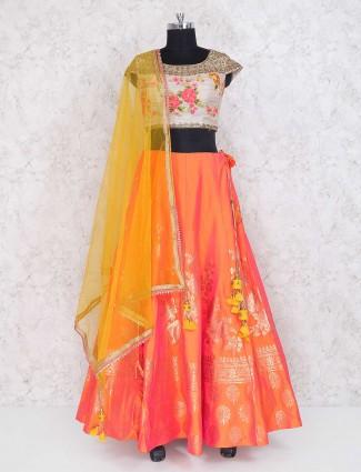 Peach color lehenga choli in silk fabric