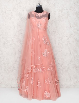 Peach color net fabric floor length anarkali suit