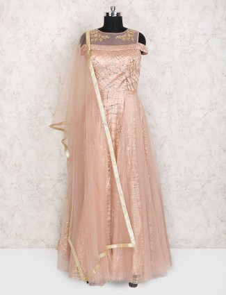 Peach color net floor length anarkali suit