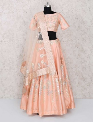 Peach color party lehenga choli