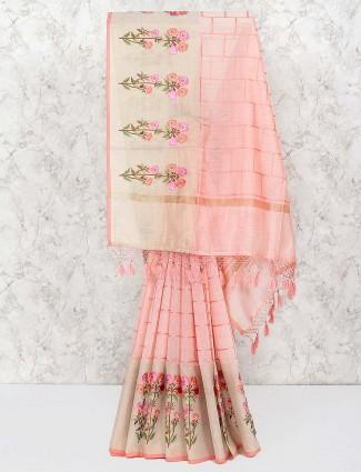 Peach color pretty saree in cotton