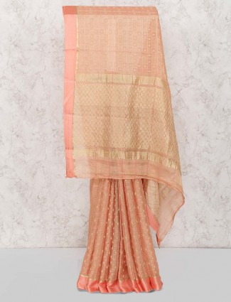 Peach color pretty saree in pure georgette