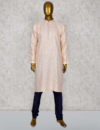 Peach color printed pattern cotton silk kurta suit