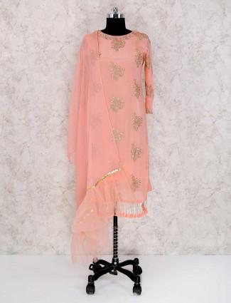 Peach color punjabi palazzo suit