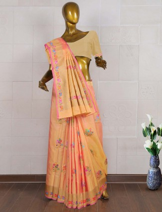 Peach color pure banarasi silk sari