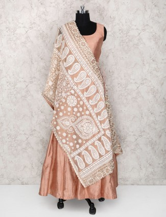 Peach color raw silk floor length anarkali suit