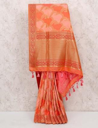 Peach color saree in cotton silk fabric