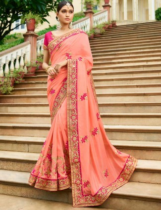 Pink color semi silk fabric saree