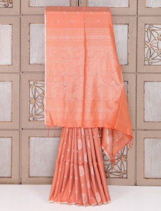 Peach color silk fabric saree for party