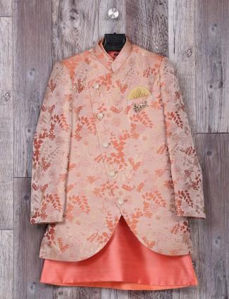 Peach color silk wedding wear indo western