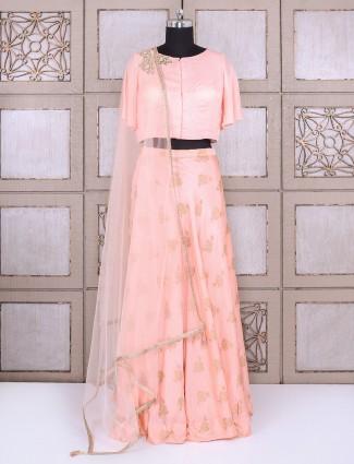 Peach color simple lehenga choli