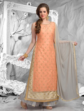 Peach color simple palazzo suit
