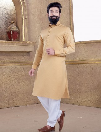 Peach color simple pathani suit