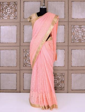 Peach color simple saree