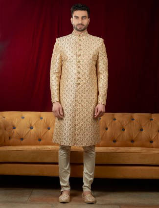 Peach color wedding occasion indo western