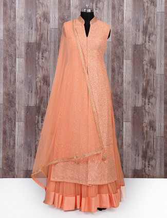 Peach color wedding salwar suit