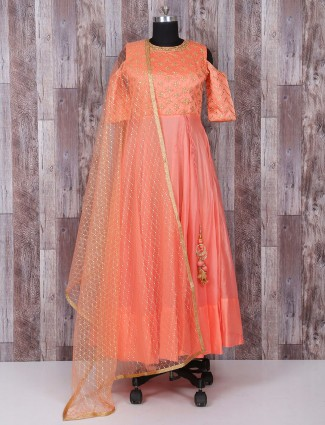 Peach color wedding wear anarkali suit