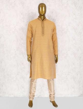 Peach color wedding wear kurta suit