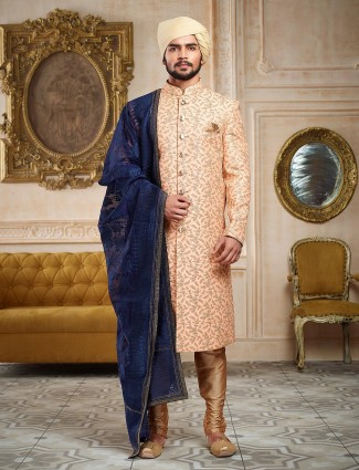Peach color wedding wear sherwani