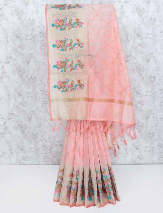 Peach colored hue cotton fabric saree