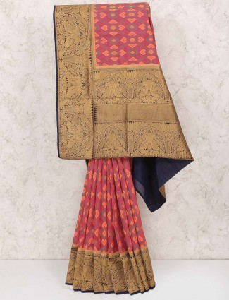 Peach colored hue saree in semi silk
