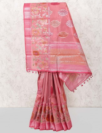 Peach colored hue semi silk saree