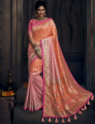 Peach colored semi silk designer saree