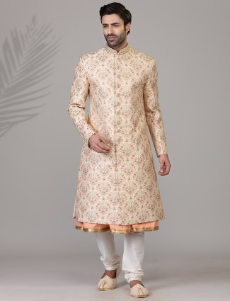 Peach colorfull thread woven jacquard silk sherwani