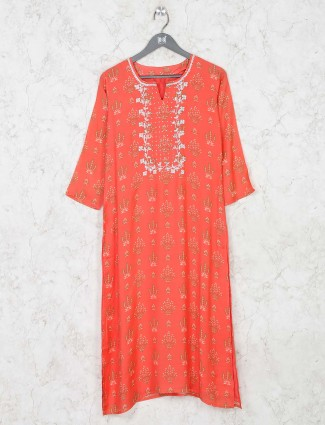 Peach cotton casual printed kurti