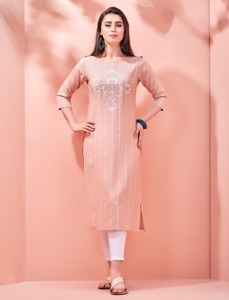 Peach cotton casual round neck kurti