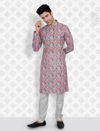 Peach cotton fabric festive wear kurta suit