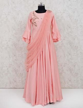 Peach cotton festive function anarkali suit