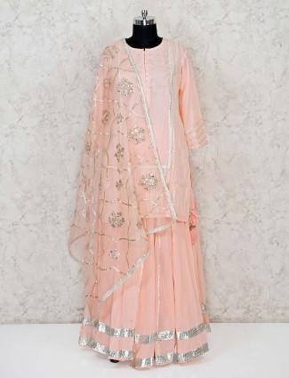Peach cotton festive wear lehenga suit
