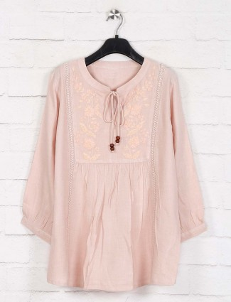 Peach cotton full sleeve casual top