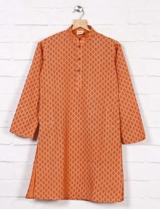 Peach cotton kurta suit in printed